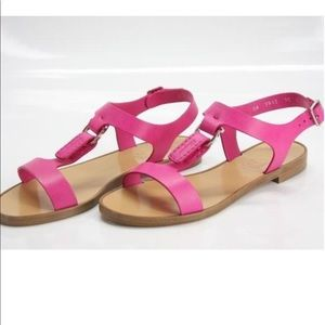 (Used) pink leather t-strap ferragamo sandals